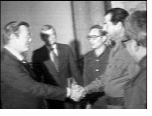 Donald Rumsfeld and Saddam Hussein greet each other in Iraq in 1983.