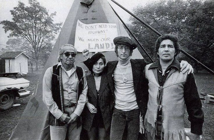 At Standing Rock in spirit. Yoko Ono and John Lennon join Native people at Wounded Knee, South Dakota, 1973.